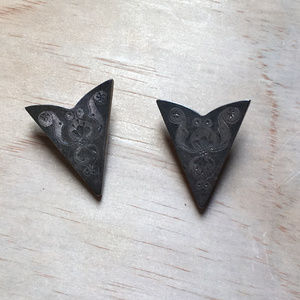 Engraved Western German Silver Shirt Collar Tips